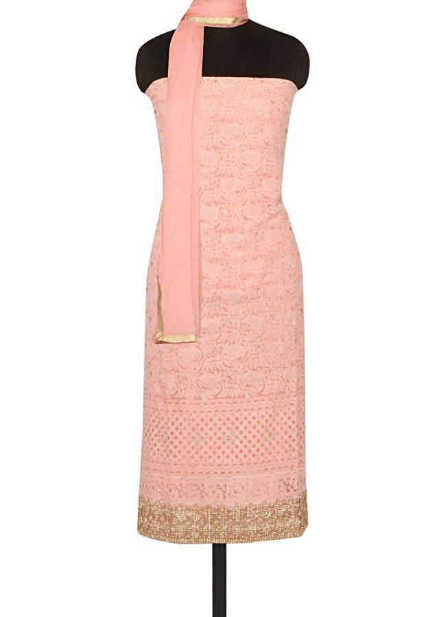 Light peach unstitched suit in lucknowi thread work only on Kalki