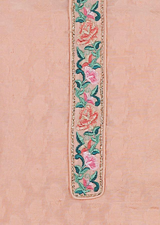 Light pink unstitched suit in with resham embroidered dupatta only on Kalki