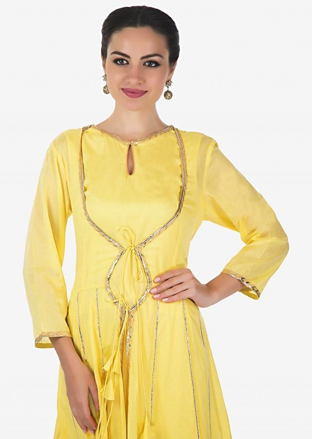 Light Yellow A Line Dress With Attached Jacket In Gotta Lace Online - Kalki Fashion