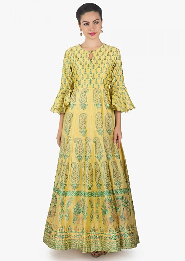 Light yellow long dress in floral printed kali only on Kalki