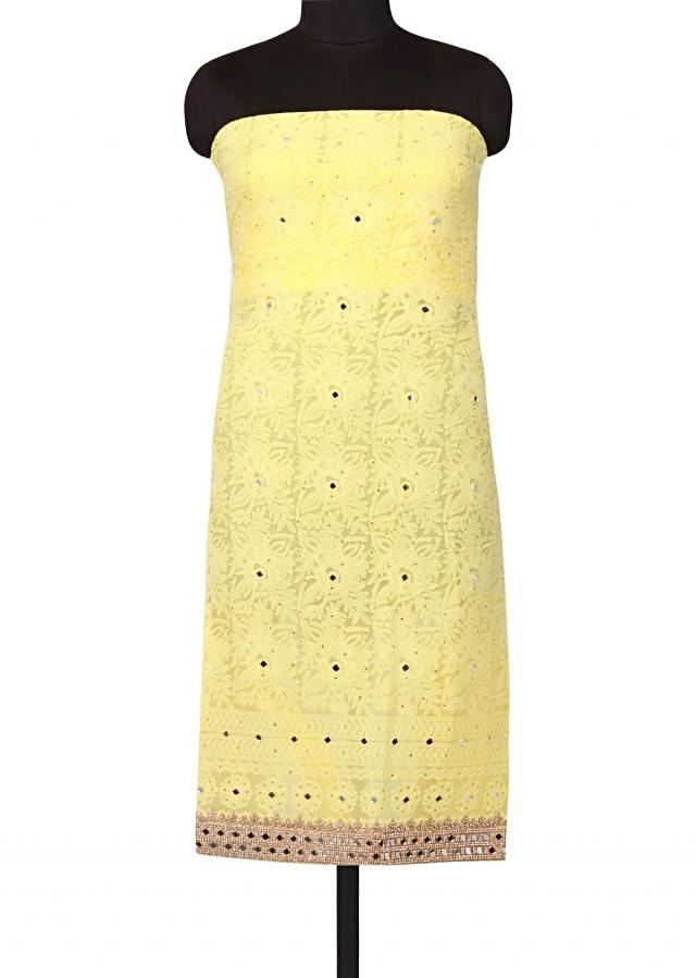 Light yellow unstitched suit lucknowi thread embroidery only on Kalki