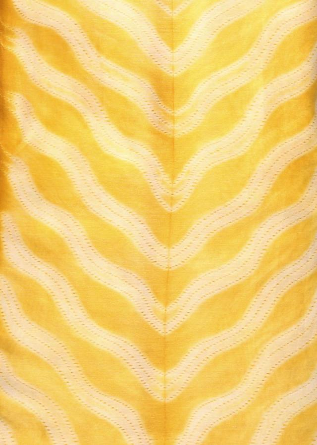 Light yellow unstitched suit with embroidered dupatta only on Kalki