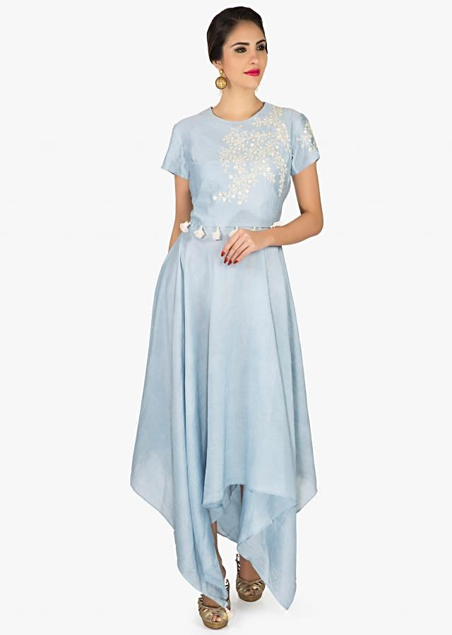 Glass blue A line suit in embroidered bodice only on Kalki