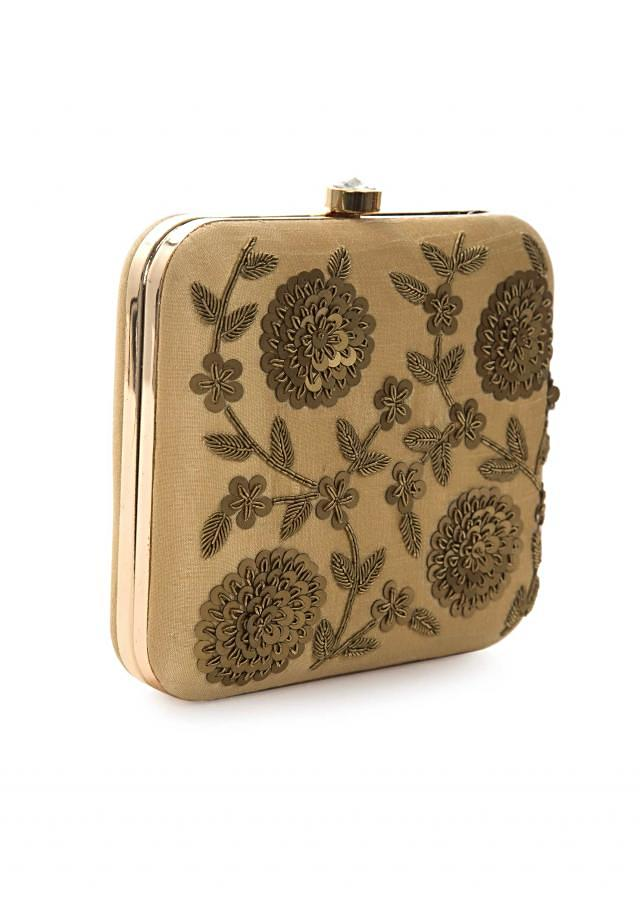 Light brown clutch embroidered in sequin floral motifs only on Kalki