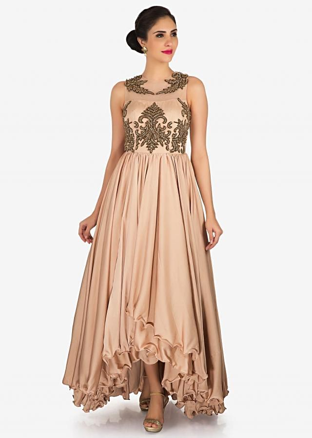 Light brown dress in satin flaunting the cut dana and moti embroidered work only on Kalki