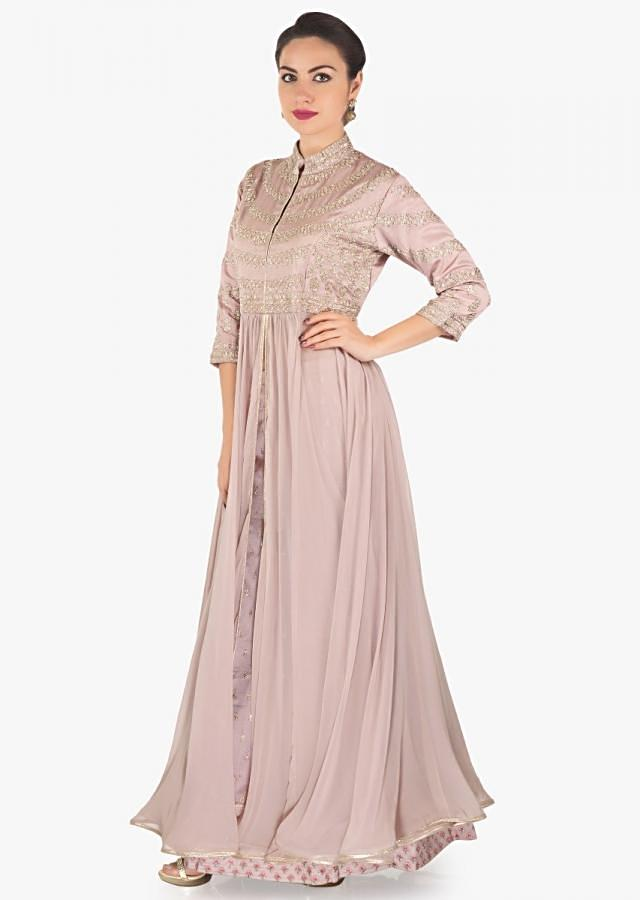 Light brown green anarkali suit with skirt in zardosi embroidered bodice only on Kalki
