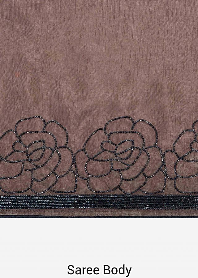 Light brown saree in cotton silk with floral motif embroidery in cut dana only on Kalki