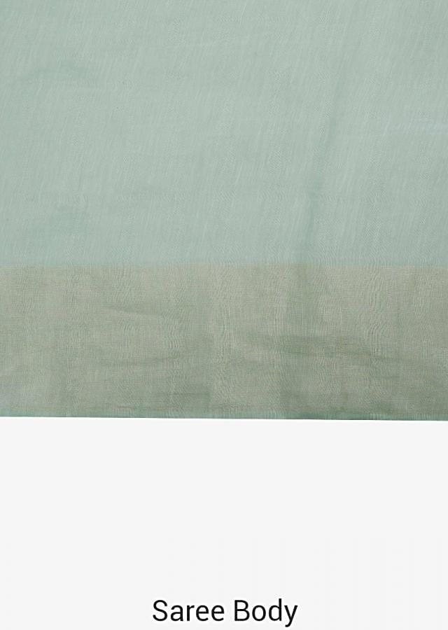 Light green saree in cotton silk with resham embroidery in bird motif only on Kalki