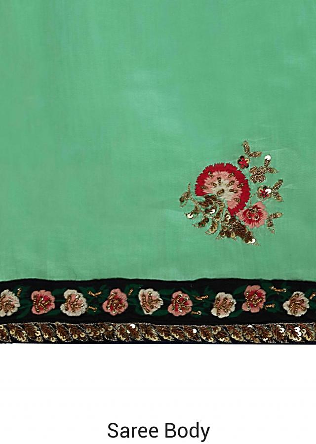 Light Green Saree In Satin With Resham Embroidered Butti And Border Online - Kalki Fashion