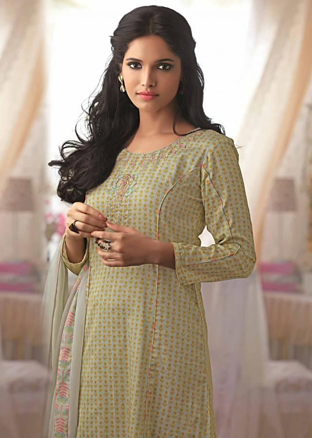 Light green unstitched printed suit with embroidered placket only on Kalki
