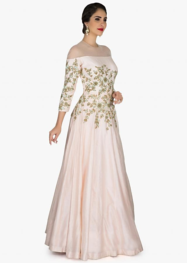 Light pink gown adorn in zari and sequin embroidery only on Kalki