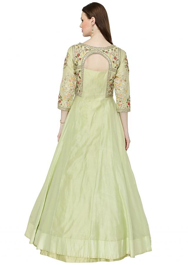 Light Pista Green Cotton Silk Gown with Resham Embroidered Floral Motifs only on Kalki