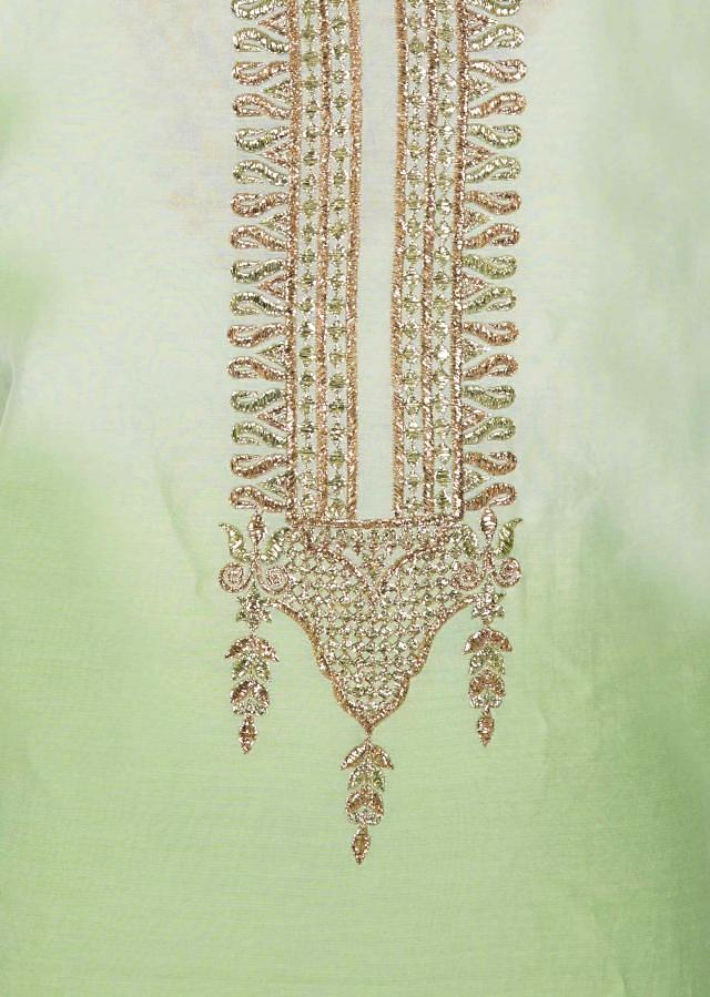 Light pista green unstitched suit in zari embroidered ready neckline only on Kalki