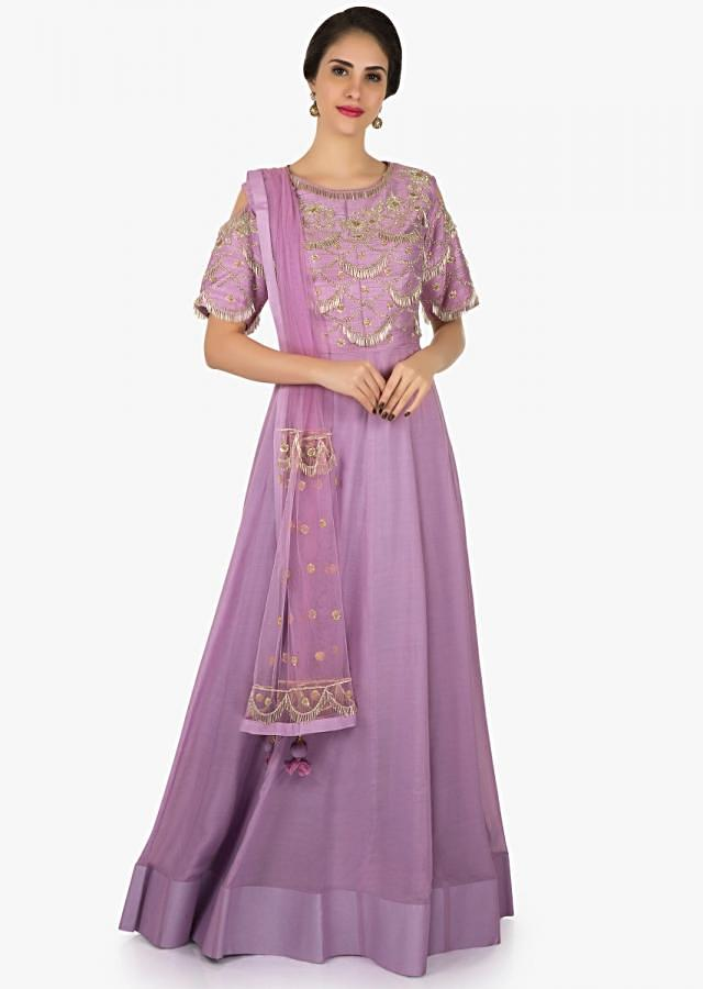 Light purple cotton anarkali gown heavily embellished in silver embroidery only on Kalki
