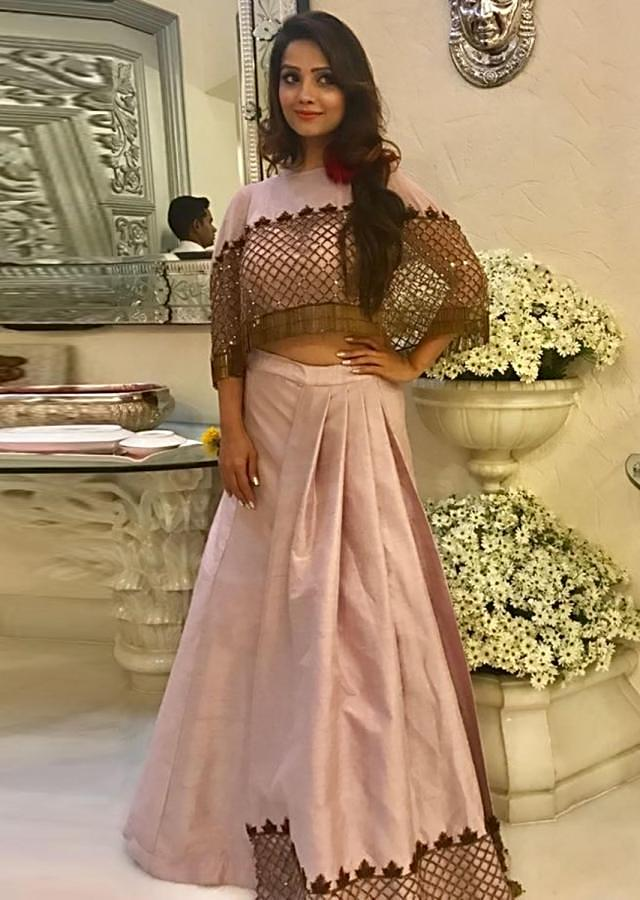 Light purple Raw Silk Top and Skirt with Cut Dana Embellished Net Cape Only on Kalki