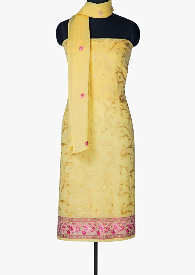 Light yellow unstitched suit in resham with floral motif only on Kalki