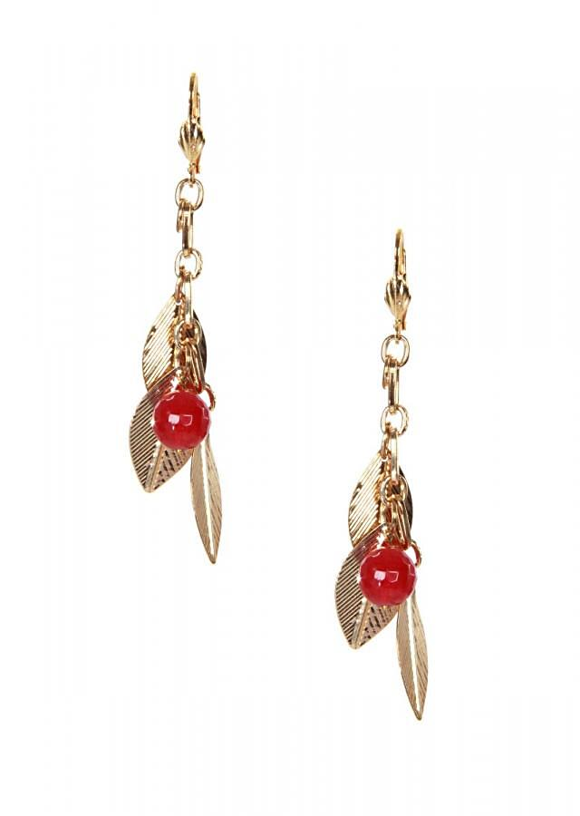 Ruby beaded and leaf tassel only on Kalki