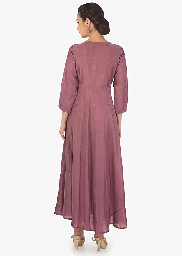 Lilac pink long over lapping kurti in embroidered butti and fancy tassel only on Kalki