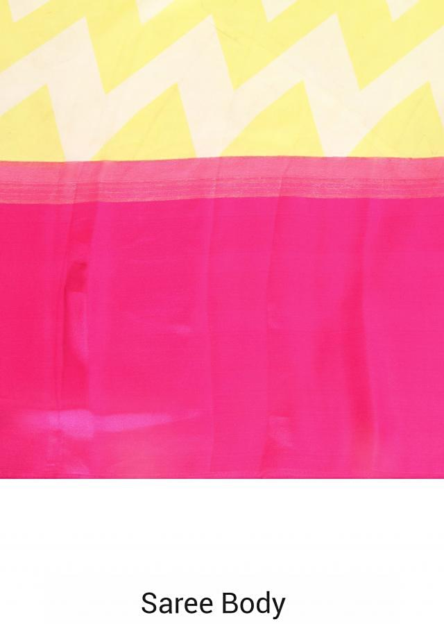 Lime and yellow saree with pink satin border only on Kalki