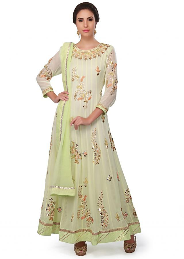 Lime green anarkali suit in georgette with gotta patch and resham only on Kalki