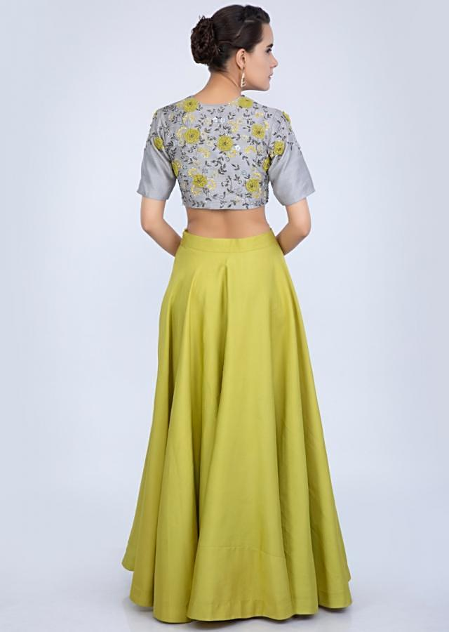 Lime Green Skirt With Cowl Drape And Grey Raw Silk Embroidered Crop Top Online - Kalki Fashion