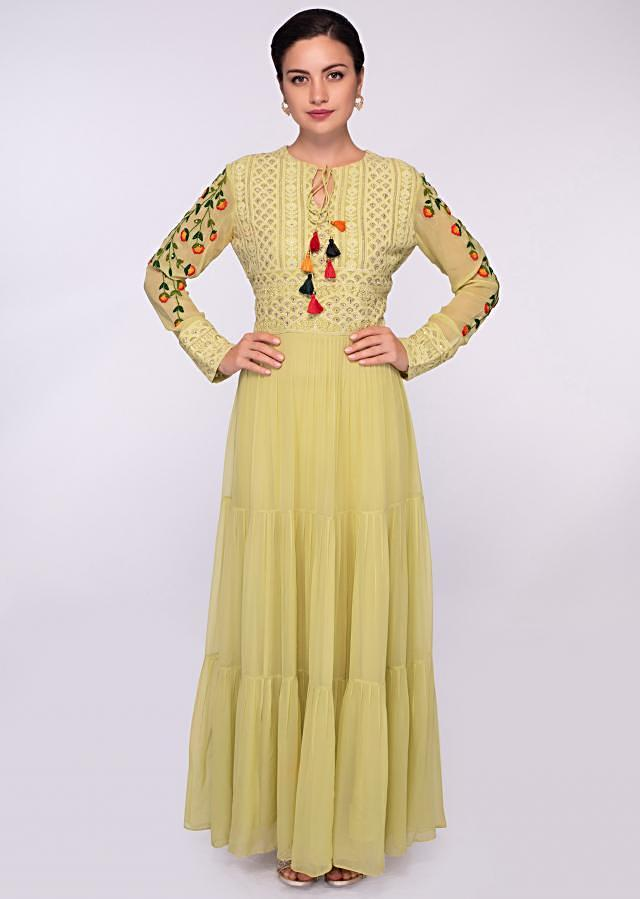 Lime green georgette suit with embroidered bodice  only on Kalki