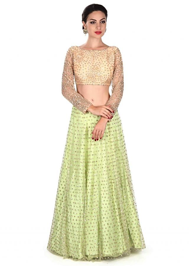 Lime green lehenga adorn in sequin embroidery only on Kalki
