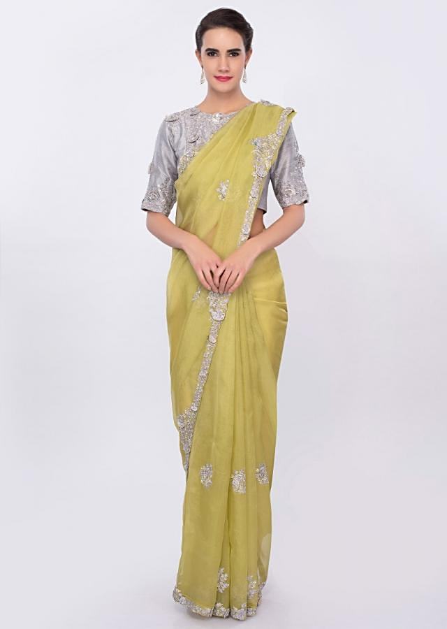 Lime Green Organza Saree With Contrasting Grey Blouse Online - Kalki Fashion