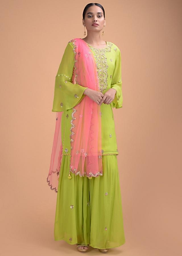 Lime Green Sharara Suit In Georgette With Gotta Patch Work And Bubblegum Pink Net Dupatta Online - Kalki Fashion