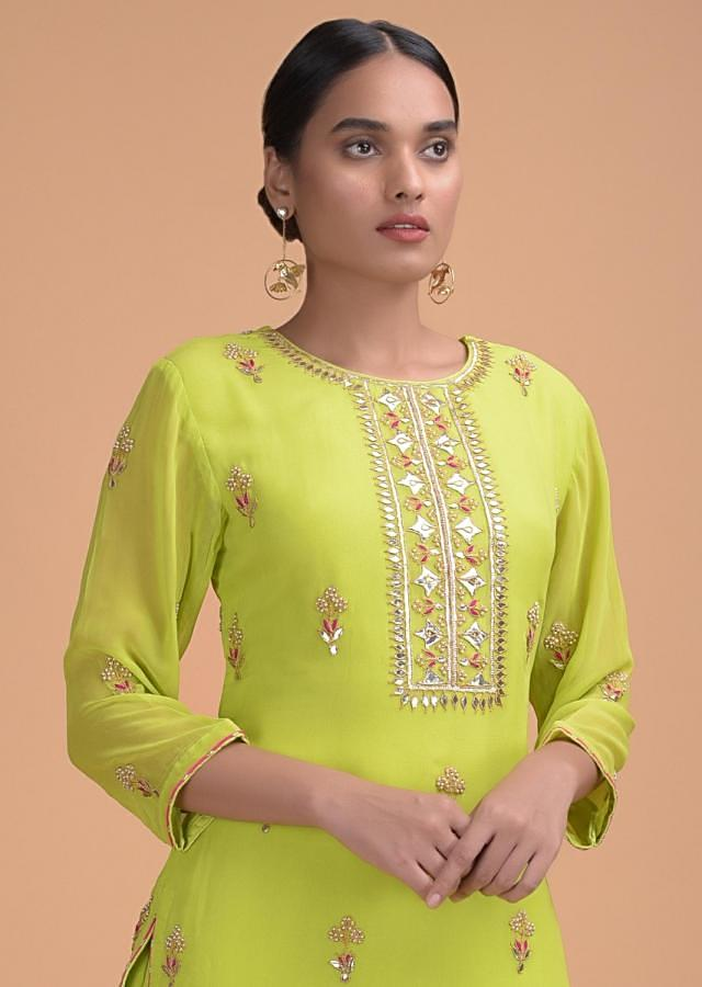 Lime Green Sharara Suit In Georgette With Gotta Patch Work And Shaded Lehariya Dupatta Online - Kalki Fashion