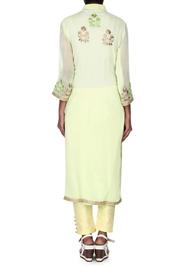 Lime green straight suit adorn in resham and zari butti only on Kalki