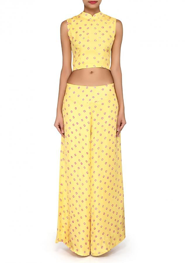 Lime yellow crop top matched with palazzo pant only on Kalki
