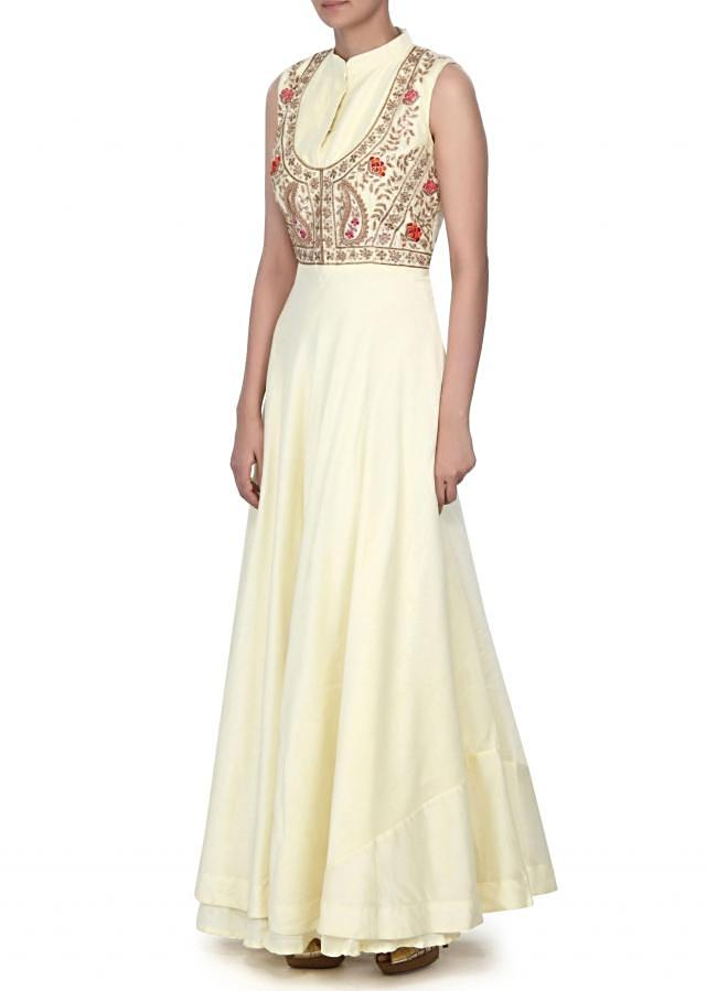 Lime yellow dress embellished in zardosi and sequin embroidery only on Kalki
