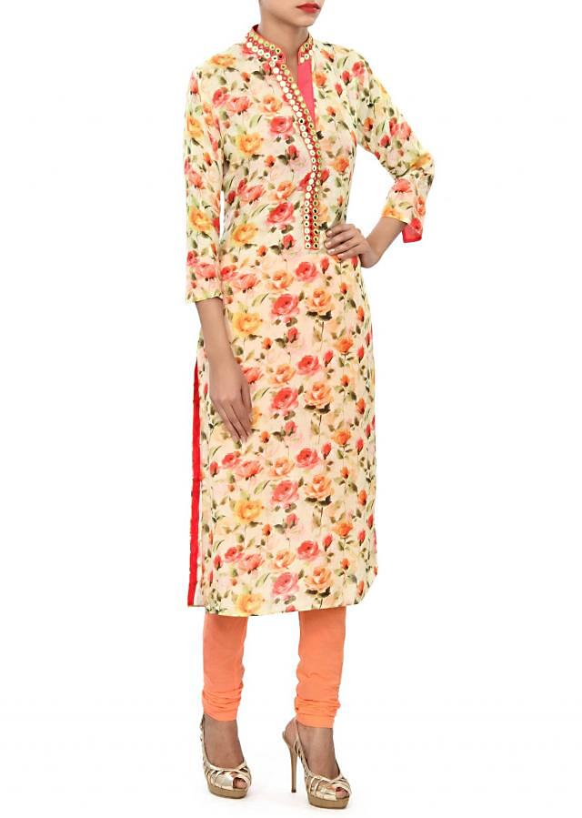 Lime yellow kurti embellished in mirror and thread work only on Kalki