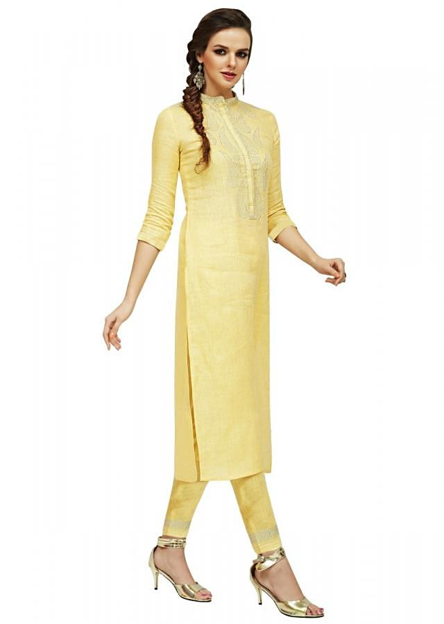 Lime Yellow Kurti With Straight Pant In Kundan Work Online - Kalki Fashion
