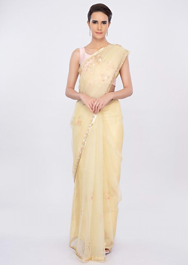 Lime yellow organza saree with embroidered pallo and border only on kalki