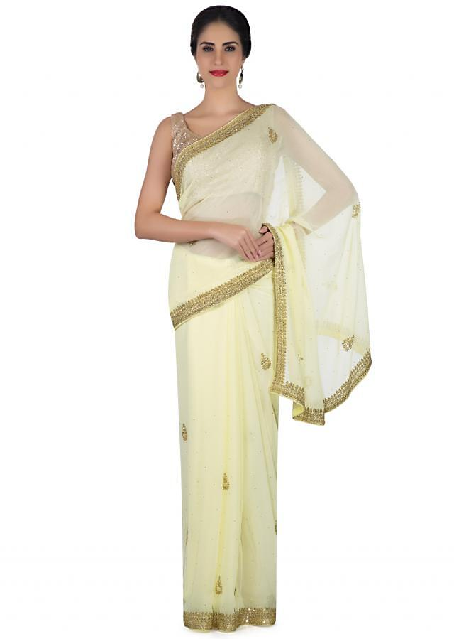 Lime Yellow Saree In Georgette With Sequin Embroidery Online - Kalki Fashion