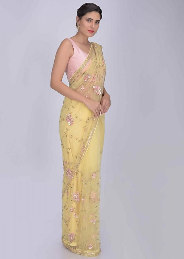 Lime Yellow Saree In Net With Matching Blouse Piece Online - Kalki Fashion
