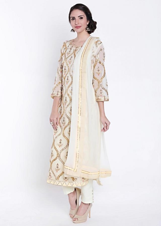 Lime Yellow Straight Suit With Gotta Patch Embroidered Buttis All Over Online - Kalki Fashion