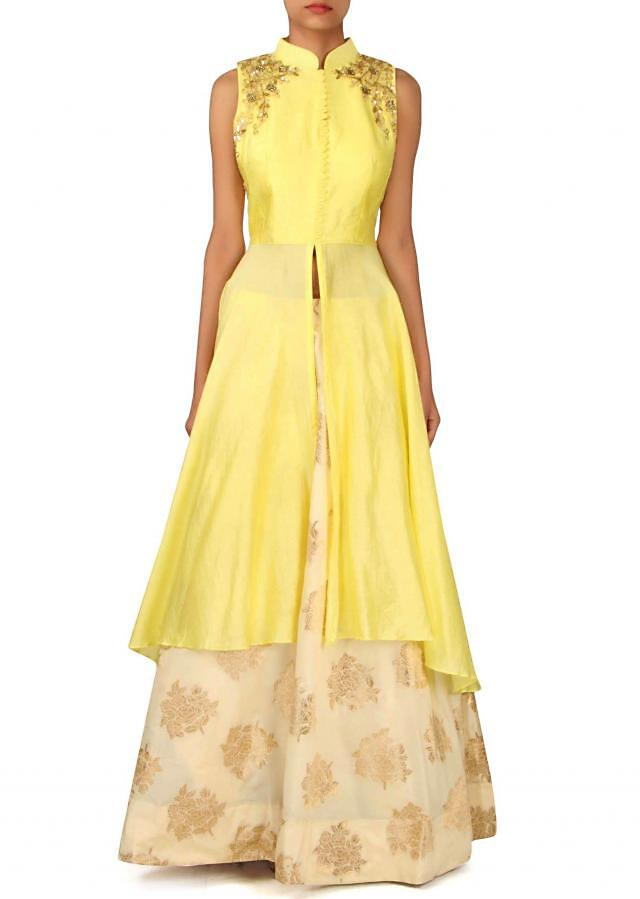 Lime yellow suit with embellished bodice only on Kalki