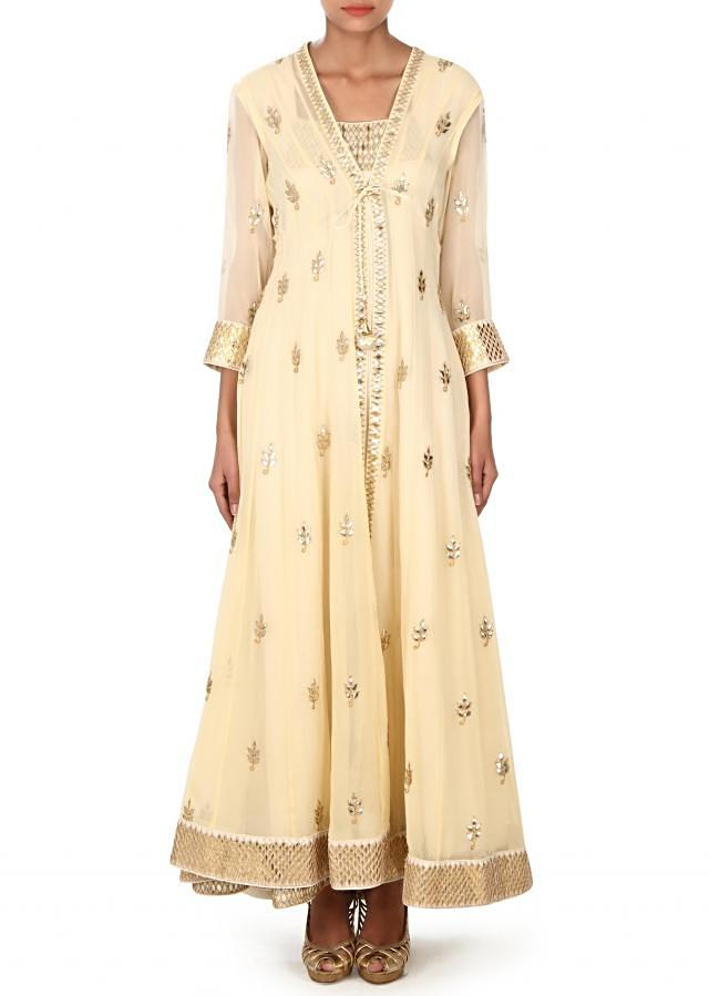 Lime yellow suit with jacket in gotta patch work only on Kalki