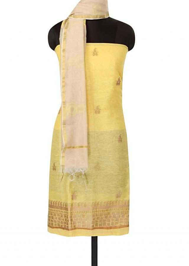 Lime yellow unstitched suit in zari butti only on Kalki