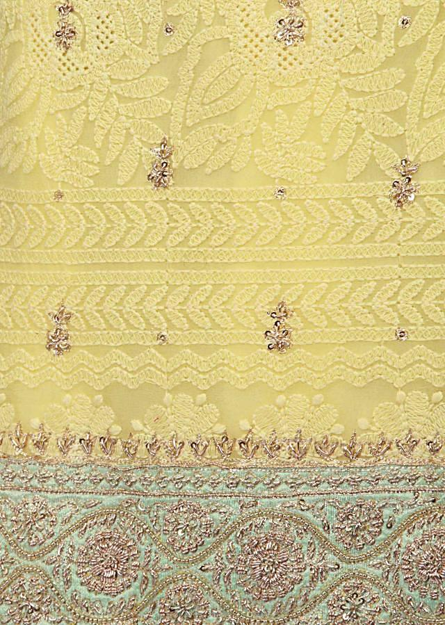 Lime yellow unstitched suit lucknowi thread embroidery only on Kalki