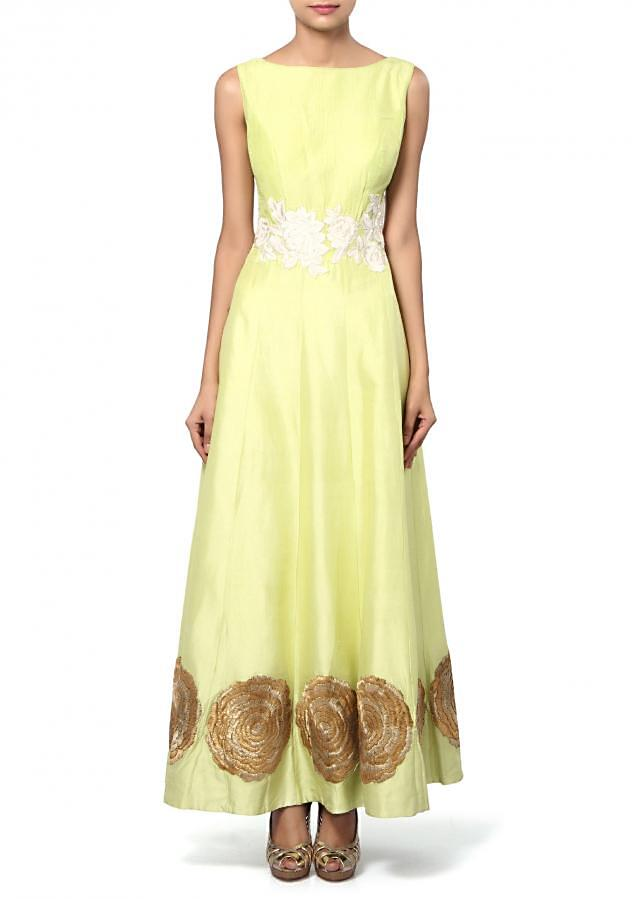 Lime green anarkali suit adorn in resham and sequin embroidery only on Kalki