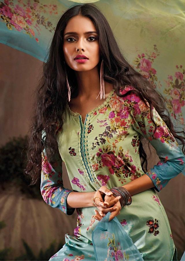 Lime green and blue shaded unstitched printed suit with ready neckline