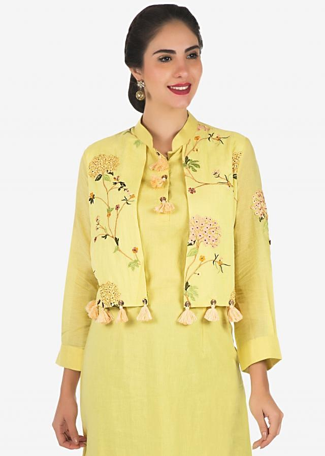 Lime yellow kurti in cotton with fancy resham embroidered attach jacket only on Kalki