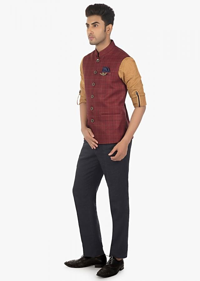 Linen Pant, Shirt and Fancy Fabric Silk Vest Coat Only on Kalki