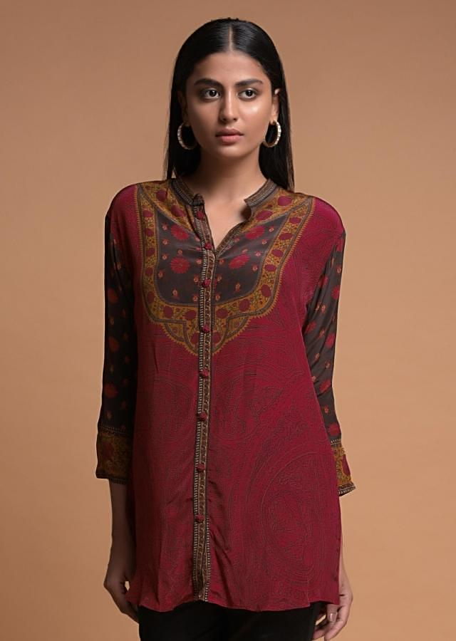 Lipstick Red Short Kurti In Crepe With Floral And Abstract Print Online - Kalki Fashion