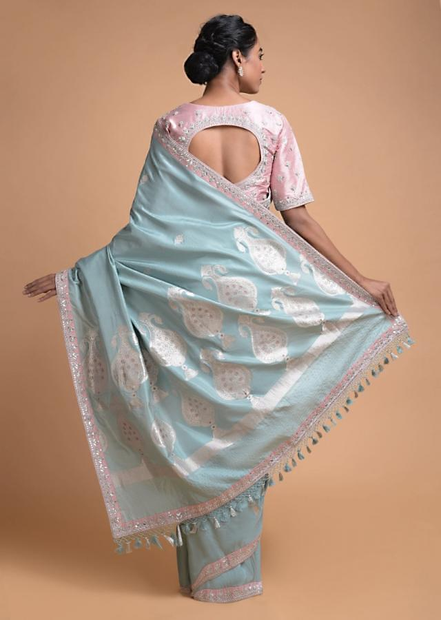 Liquid Blue Saree In Silk With Weaved Floral Buttis And Gotta Patch Embroidered Border Online - Kalki Fashion