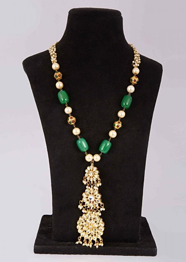 Long traditional necklace with triple layer kundan floral pendant only on Kalki